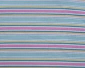 Cotton Fabric, 1 Yard, Folk Heart Stripe, Aqua, Pink, Yellow, Green, White, Quilting, Pillow, Dress, Decor, Additional Yards Available