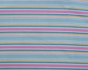Cotton Fabric, 1/4 Yard, Folk Heart Stripe, Aqua, Pink, Yellow, Green, White, Quilting, Pillow, Dress, Decor, Additional Yards Available