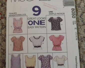 Vintage Misses Tops Sewing Pattern, 1996, Sizes 14, 16 & 18, McCall's 8050, Uncut, Pull Over, Shirt, Sleeves, Sleeveless, Mother's Day