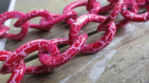 3 FT Aluminum Jewelry Link Chain Hot Pink with White 18x22mm - K922