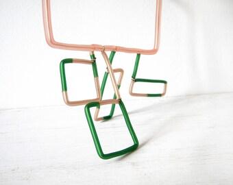Statement Necklace geometric square Peach green