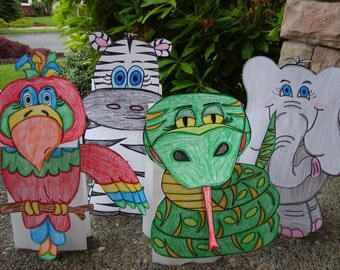 Parrot, Zebra, Viper Snake, and Elephant Paper Puppet Set of 4