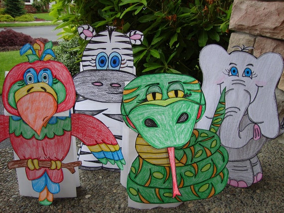 Parrot, Zebra, Viper Snake, and Elephant Paper Puppet Set of 4