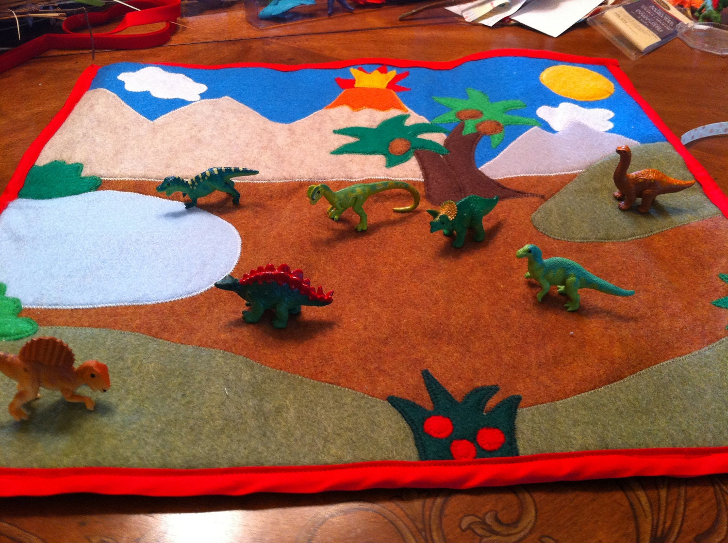 Felt Play Mat A Roll Up Dinosaur Themed Felt By