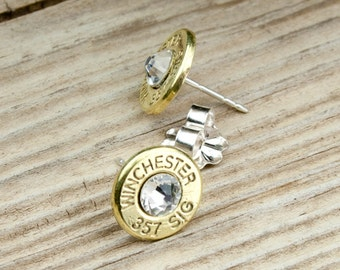 Bullet Earrings / Winchester .357 SIG Brass Bullet Head Stud Earrings WIN-357S-B-SEAR / Sterling Earrings / Bullet Stud Earrings / Custom