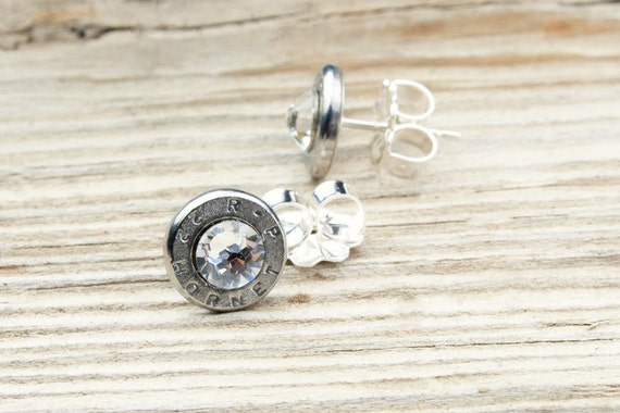 Bullet Stud Earrings / 22 Hornet Nickel Bullet Head Stud Earrings RP-22-N-SEAR / Sterling Earrings / Stud Earrings / Sterling Stud Earrings