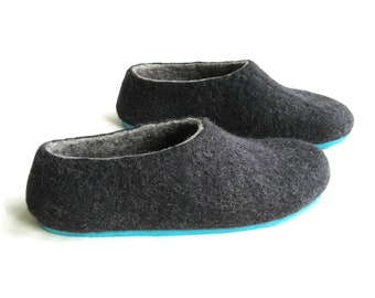 Charcoal Felted Slippers - Wool Shoes - Minimalist Shoes - Color Blocking - Woolen Socks - House Shoes - Womens Shoes - Rubber Soles - Natur