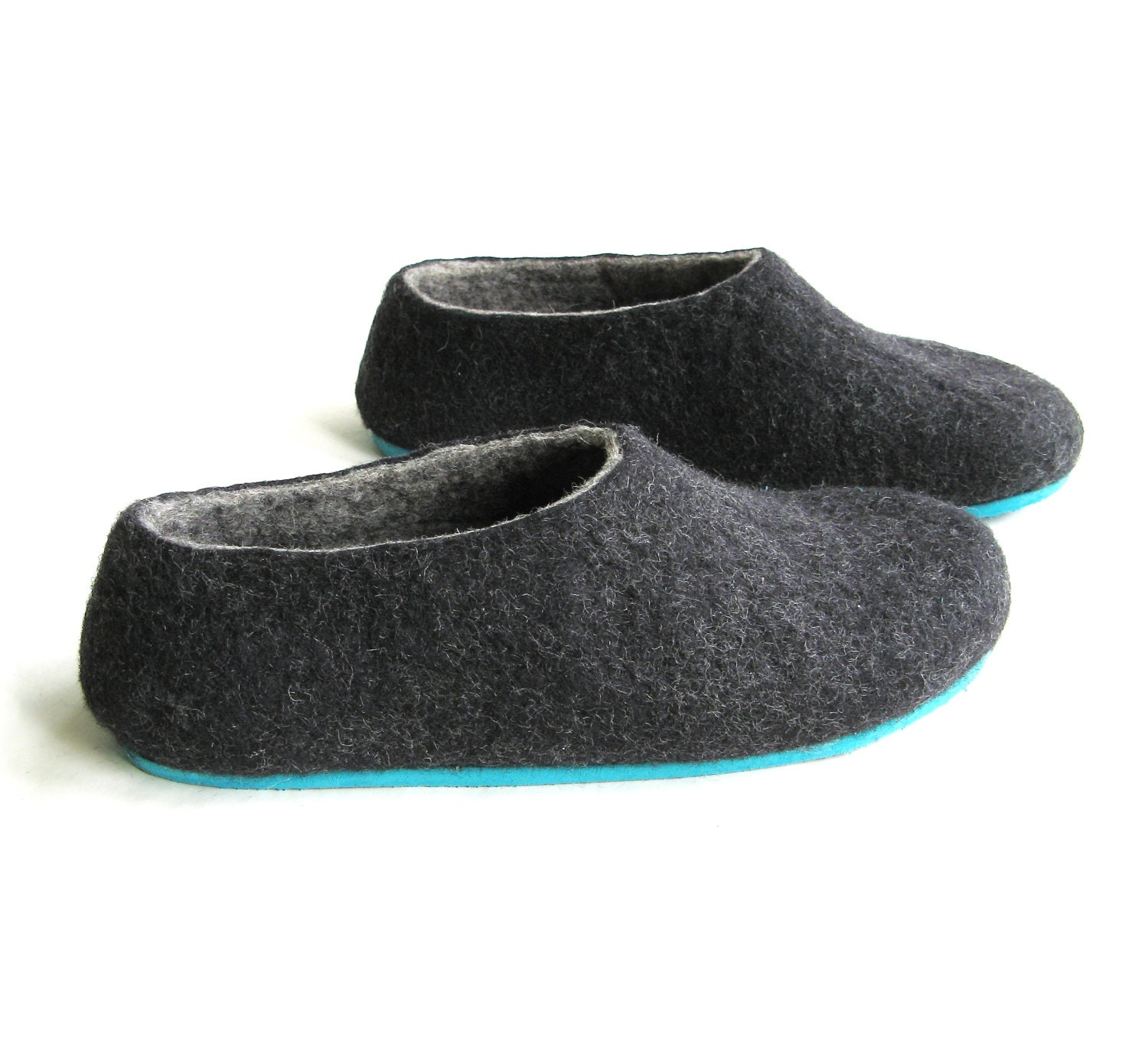 Charcoal felted slippers wool shoes minimalist shoes for Minimalist house slippers