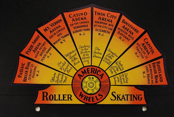America on Wheels, 1940 Roller Rink Label, Paper Ephemera, Vintage Paper, Graphic Label