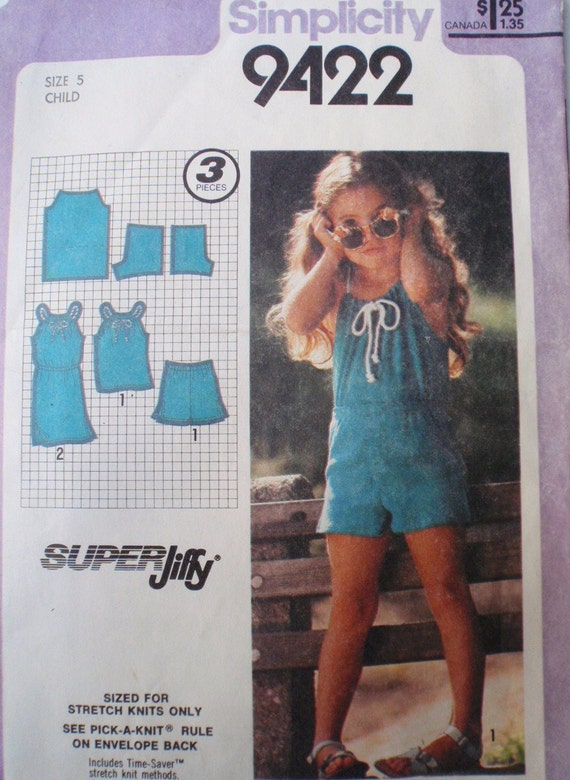 Vintage Child's Pullover Dress or Top and Shorts Pattern - Simplicity 9422 - Size 5, Breast 24