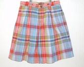 vintage 1980's shorts high waist spring summer plaid walking short Lizwear size 8
