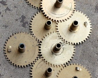 Vintage selection of assorted clock gears -- brass -- set of 8 -- D3