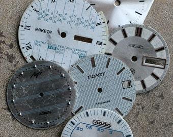 Vintage Wrist Watch Faces -- set of 6 -- D5