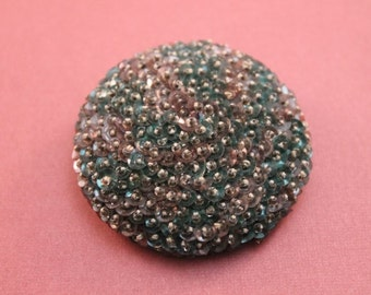 Beaded and sequined brooch pink and turquoise large round pin 1960's unusual domed brooch lapel purse collar accent jewelry piece statement
