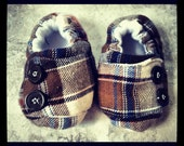 Baby Boy Baby Shoes, Plaid Fabric, Handmade Baby Shoes