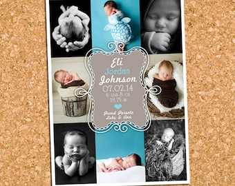 Baby Boy Birth Announcement , Boy Birth Photo Announcement, Picture Collage Announcement - DiY Printable || 8 Aqua Dust Doodle Delight