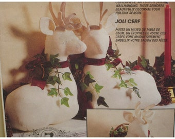 """Christmas Deer Ornament Pattern, Wall Hanging, Faux taxidermy - McCalls No. 6159  Size 14-18"""" (36-46cm)"""