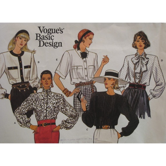 Tie Neck Blouse Pattern, High Collar, Full Sleeves, Cuffs, Pintucks Vintage 1980s Vogue No. 1812 UNCUT Size 8 10 12