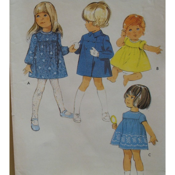 """Toddlers Coat and Dress Pattern, Double Breasted, Collar, Empire Dress, Puff Sleeves Style No. 3256 UNCUT Size 2 (Breast 21"""" 53cm)"""