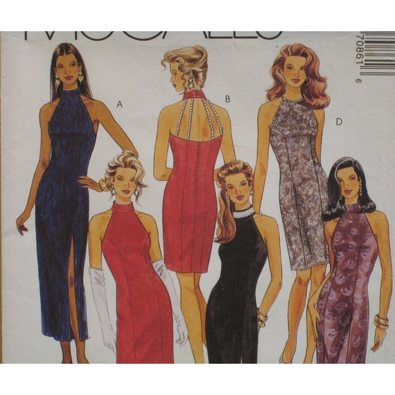 """Backless Evening Dress Pattern, Neck Band, Fitted, Halter, Princess Seams McCalls No. 7086 UNCUT Size 12 (Bust 34"""" 87cm)"""