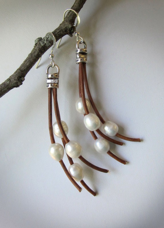 Brown Leather Pearl Freshwater Wispy Earrings Womens Casual Jewelry Gift Nature Inspired