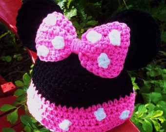 Minnie Mouse Crochet Hat in choice of 5 sizes