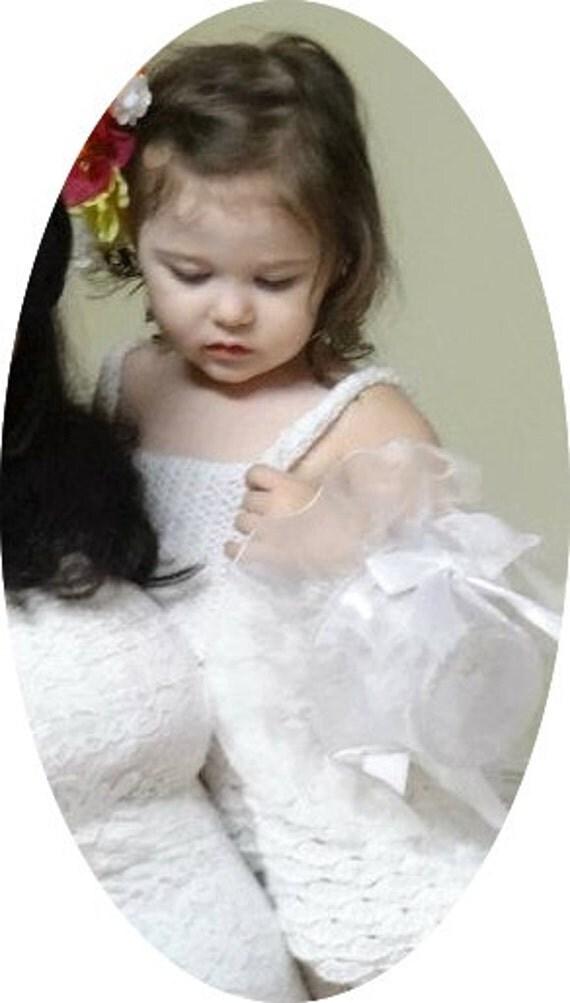 White Ruffle Baby Doll Dress, Handmade, Crochet - Size 2T