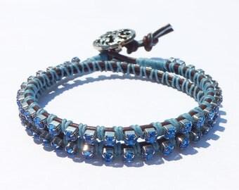 Leather Rhinestone Wrap Bracelet - double wrap, stacking bracelet, bling, blue