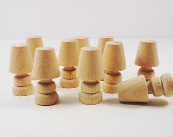 "Lamps Wood Miniatures 1 7/16"" H x 3/4"" Diameter - 25 Pieces"