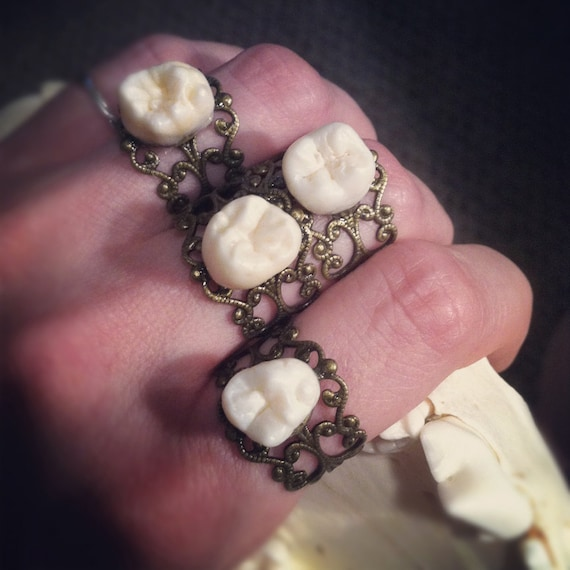 Tooth Fairy Series: Real Human Tooth Adjustable Ornate Filigree Ring in Antique Brass