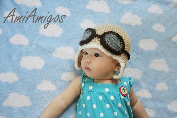 Crochet Aviator Hat (Tan Color 3 - 6 months)