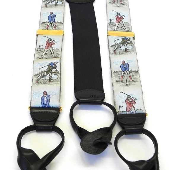 Braces Woven Old School Golfers Vintage Button On Suspenders