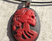 Skeleton Cameo - Red Lolita on Black Wire Cord Choker Necklace Pendant Halloween Dia De Los Muertos Day of the Dead