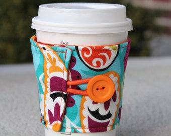 Fabric Coffee Cup Wrap - Coffee Sleeve - Multicolored Funky Paisley - Bright Colored Coffee Gift