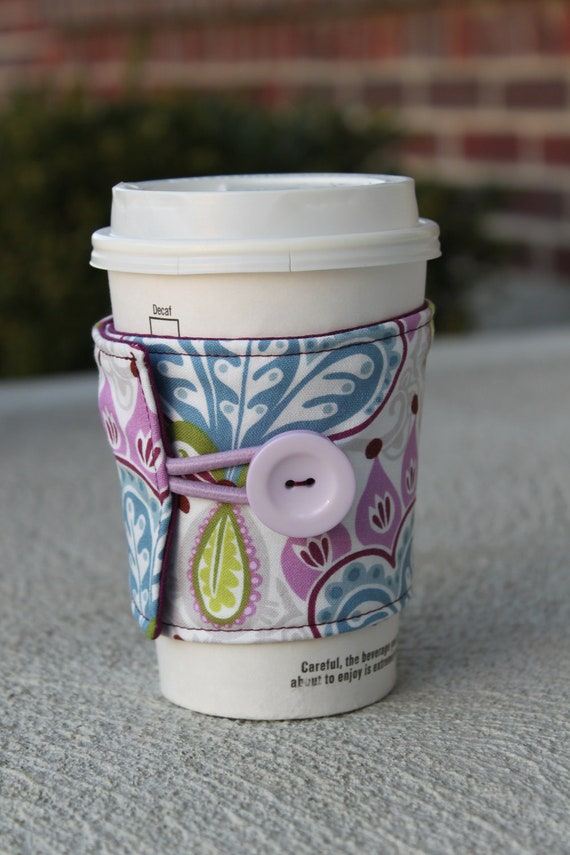Fabric Coffee Coozie - Fabric Sleeve for Cardboard Coffee Cup - Serenade by Kate Spain, Thistle in Damson