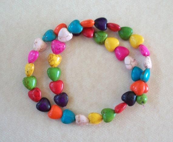 Heart Howlite Beads Teeny Tiny Multi Colored Stone Strand
