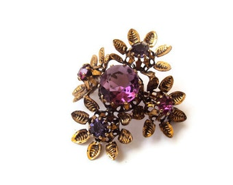 Vintage Rhinestone Flower Brooch, Signed Made in Austria, Austrian Crystals, Gold Tone and Purple, Antique Costume Jewelry Pin