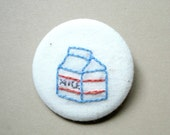 Blue Red Orange Milk Carton Back to School Hand Embroidered Pin Brooch
