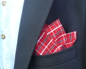 Red, Navy, and White Plaid Cotton Pocket Square With Hand-Rolled Hem