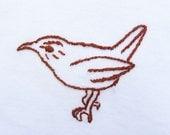 Carolina Wren Hand-Embroidered Baby Onesie/ Bodysuit