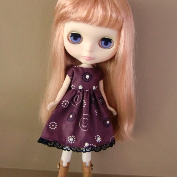 CLEARANCE SALE - Plum, Black and White Dress for Blythe