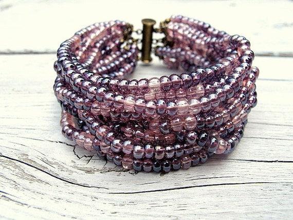 Czech Glass Cuff/ Purple Rhapsody Seed Bead Multi Strand Wide Cuff