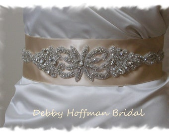 Crystal Champagne Beige Bridal Belt, Jeweled Mauve Bridal Sash, Rhinestone Blush Bridal Sash, Taupe Wedding Dress Belt, No. 1126S2041-2.75