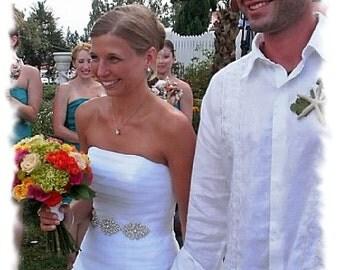 Rhinestone Crystal Bridal Sash, 9 inch Bridal Belt, Beaded Rhinestone Wedding Dress Sash, Jeweled Wedding Belts and Sashes, No. 1171S3
