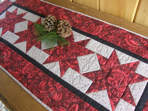 christmas Runner  Red Black Stars  Christmas contemporary Table runner table and
