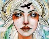 Freyja pagan goddess Norse raven fine art print