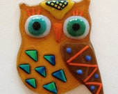 Fused Glass Owl with Hanger - Mr. Blue Triangle