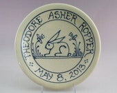 Commemorative Plate -  Personalized Child's Birth Plate  Baby Gift - Bunny Rabbit Design