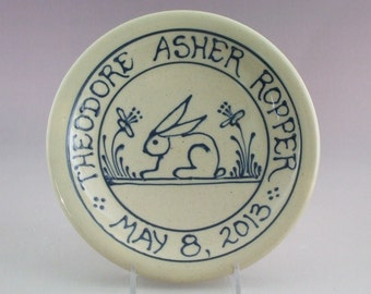 Commemorative Plate -  Personalized Child's Birth Plate  Baby Gift - Bunny Rabbit Design