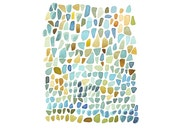 Sea Glass original painting Watercolor Beach Finds teal blue green peridot turquoise emerald  home decor